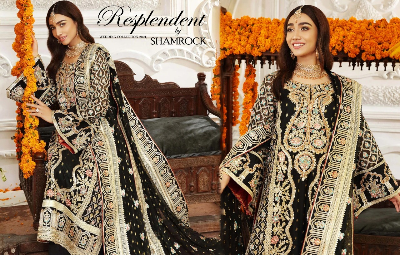 Shamrock Premium Embroidered Organza Suits- Boost Your Styling Sansation This Winter!